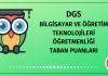 DGS Bilgisayar Öğretmenliği Taban Puanları 2020