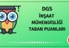DGS İnşaat Mühendisliği Taban Puanları