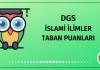 DGS İslami Bilimler Taban Puanları