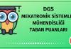 DGS Mekatronik Sistemler Mühendisliği Taban Puanları 2020