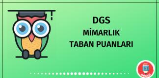 DGS Mimarlık Taban Puanları 2020