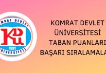 Komrat Devlet Üniversitesi 2020 Taban Puanları