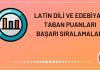 Latin Dili ve Edebiyatı Taban Puanları