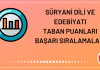 Süryani Dili ve Edebiyatı Taban Puanları