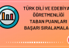 Türk Dili ve Edebiyatı Öğretmenliği Taban Puanları 2020