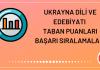 Ukrayna Dili ve Edebiyatı Taban Puanları 2020