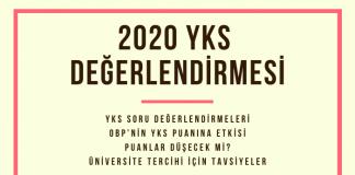 2020 YKS Değerlendirmesi