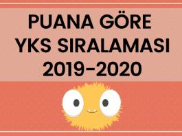 Puana Göre YKS Sıralaması 2019